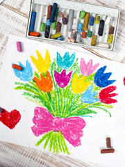colorful drawing: tulip bouquet