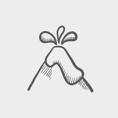 Volcano exploding sketch icon