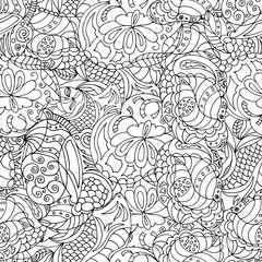 seamless abstract graphic drawing made by hand, zen-tangle