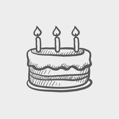 Birthday cake with candles sketch icon
