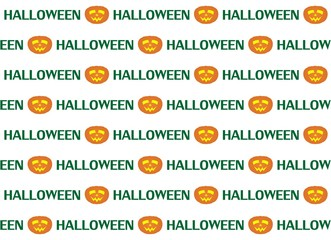 Halloween background with face cut into the pumpkin with a sign on a white background