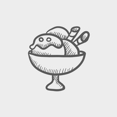 Ice cream on cup sketch icon