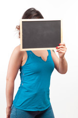 young girl with a chalkboard