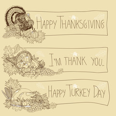 Vector hand drawn Thanksgiving background.