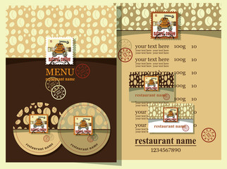 Coffee style.Coffee house design set contains templates  for  business card, coaster, menu with price and text with postage stamps.  Postage stamps with coffee mill. Coffee house style