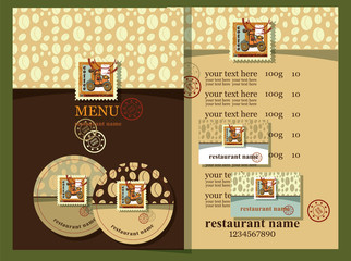 Coffe house style.Coffee house design set contains templates  for  business card, coaster, menu with price and text with postage stamps.  Postage stamps with coffee mill. Coffee house style