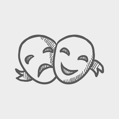 Two mask sketch icon