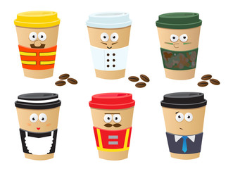 More Coffee Cups Characters - Cute set of 6 coffee cups characters. Eps10