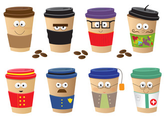 Coffee Cups Characters - Cute vector set of 8 coffee cups characters. Eps10