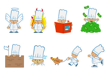 Tiny Chef Angel - Fun set of eight chef emoticons doing different things. Eps10