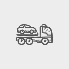 Car towing truck sketch icon