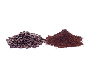 Coffee beans and ground