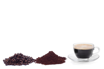 coffee beans, ground, cup of espresso