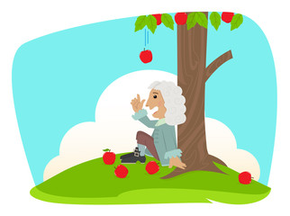 Isaac Newton - Cute Isaac Newton is sitting under an apple tree and getting idea about the universal law of gravitation. Eps10