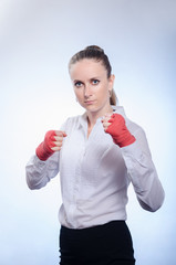 businesswoman ready to fight