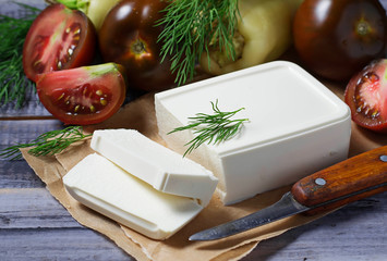 Greek feta cheese with vegetables