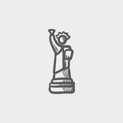 Statue of liberty sketch icon