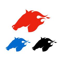 Set of horse heads logo templates. Isolated on white background. Vector illustration.