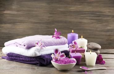 Aluminium Prints Spa Spa still life with purple flowers