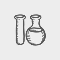 Test tube sketch icon