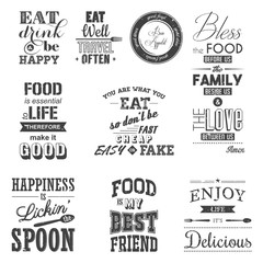 Estores personalizados con tu foto Set of vintage food typographic quotes. Grunge effect can be