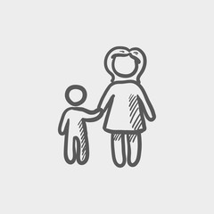 Mother and child sketch icon