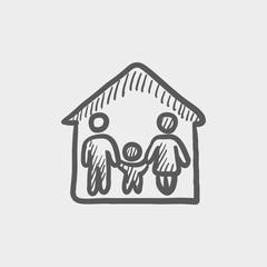 Family house sketch icon