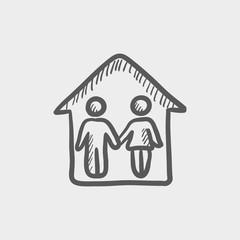 Couple house sketch icon