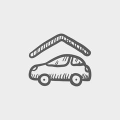 Car garage sketch icon