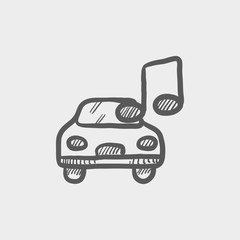 Car with music sketch icon