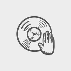 Vinyl disc with dj hand sketch icon