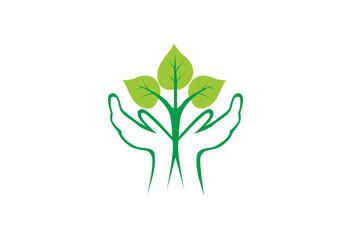 Save plant green leaf hand logo vector llustration