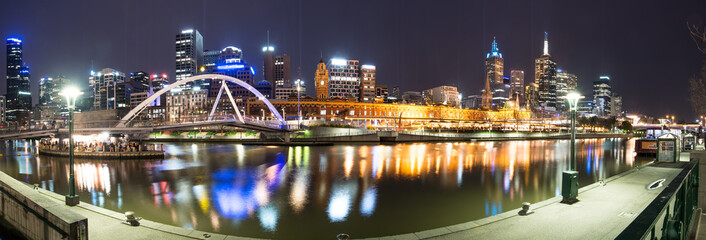 Melbourne night life panorama view, Melbourne, Victoria, Australia.