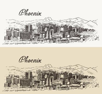 Phoenix skyline vector illustration hand drawn