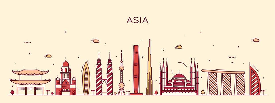 Asia skyline Trendy vector illustration line art