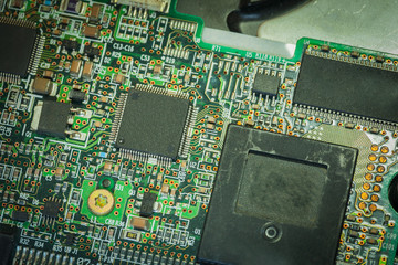 Electronic circuit board with processer.