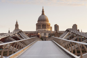 Millennium Bridge and St .Paul's Cathedral at sunrise, London, England, United Kingdom, Europe