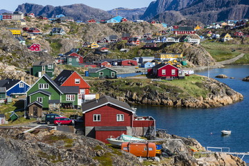 View of the brightly colored houses in Sisimiut, Greenland, Polar Regions