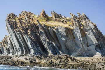 The 1.7 billion year old Elgee sandstone cliffs in Yampi Sound, Kimberley, Western Australia, Australia, Pacific