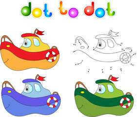 Funny cartoon ship. Connect dots and get image. Educational game