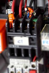 Miniature construction figures wiring circuit. Miniature scale model construction figures wiring circuit.