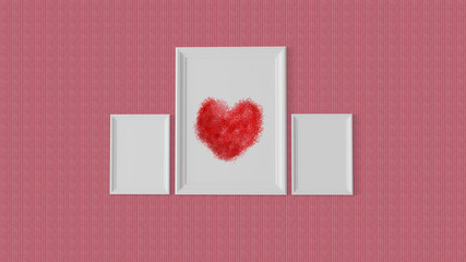 Three white frame with a red heart at centre