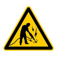 wso163 WarnSchildOrange - construction worker with a jackhammer - german - Bauarbeiter mit einem Presslufthammer - g3765