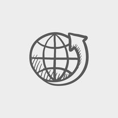 Earth design sketch icon