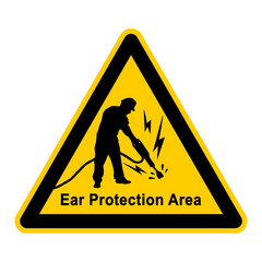 wso167 WarnSchildOrange - Ear Protection Area - construction worker with a jackhammer - e3767