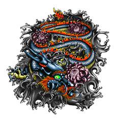 Japan style dragon design.