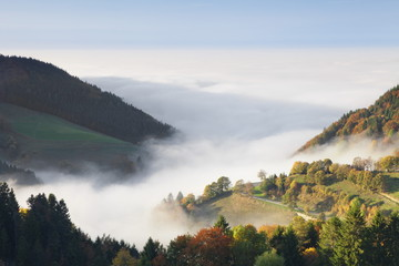 Foggy landscape in autumn, Wiedener Eck, Black Forest, Baden Wurttemberg, Germany, Europe