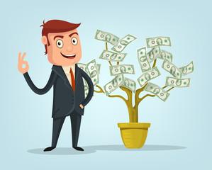 Businessman and money tree. Vector flat cartoon illustration