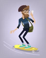 Hipster character on longboard. Vector flat cartoon illustration