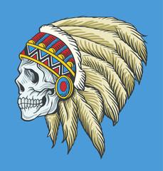 Indian skull. Vector tattoo illustration